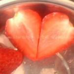 草莓心形花刀的切法(水果拼盘-盘饰围边)