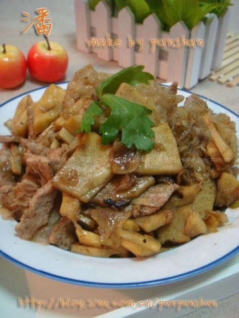 黑椒肉片炒冬笋
