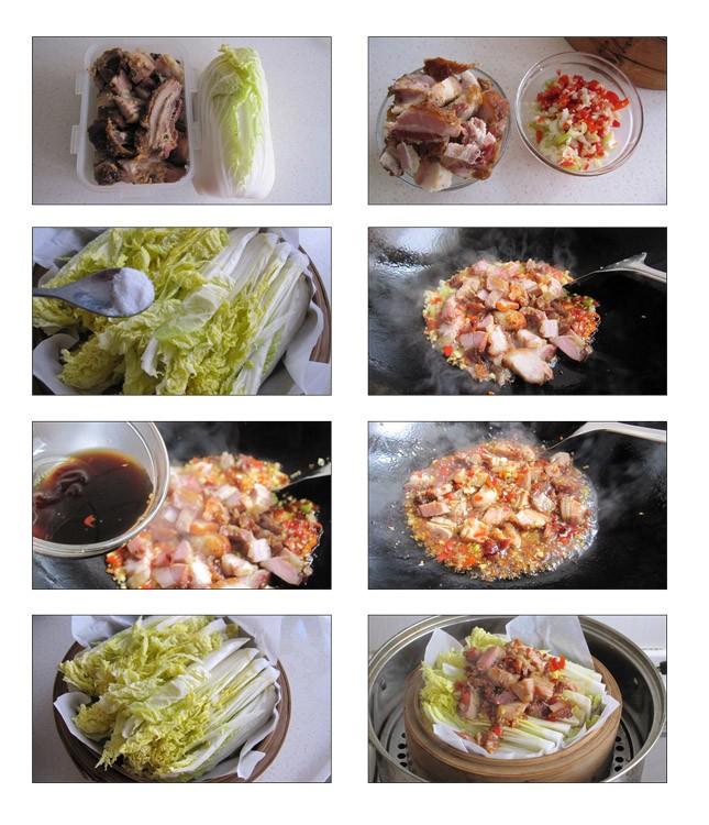脆皮烧肉蒸白菜