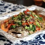 蔬菜烤鲈鱼