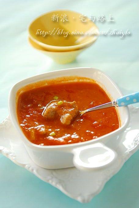 番茄浓汤滑牛肉
