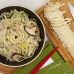 香菇白菜肉丝烩饼(早餐菜谱)
