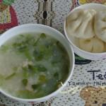 牛乳西洋菜肉糜粥(早餐菜谱)