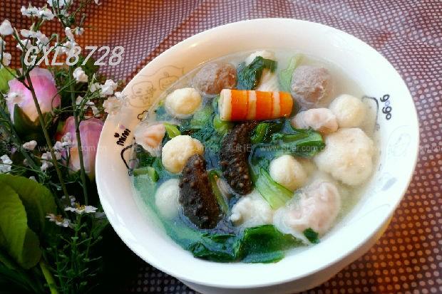 火锅丸子海参青菜汤