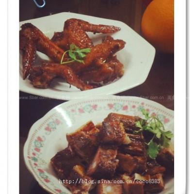 烤蒜香骨和鸡翅膀