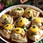 鱼肉酿豆腐(清蒸菜)