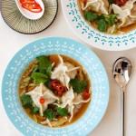 鲜辣鸡丝虾肉汤饺(早餐菜谱)