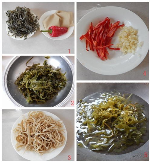 拌豆腐皮海带丝