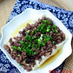 榄角肉末蒸豆腐(清蒸菜)