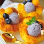 法式浪漫花朵吐司和蓝莓椰奶冰激凌(下午茶)