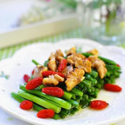 韭菜枸杞拌核桃