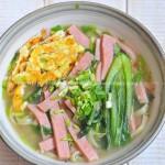 火腿蔬菜熱湯面(早餐菜譜)