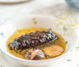 海参花菇炖草鸡