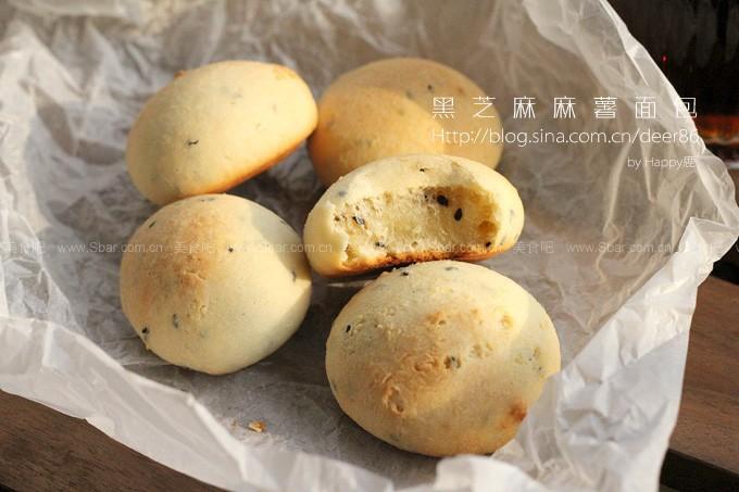 黑芝麻麻薯面包
