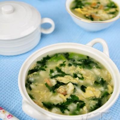 茼蒿虾米疙瘩汤