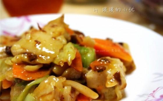 香菇酱炒年糕(早餐菜谱)
