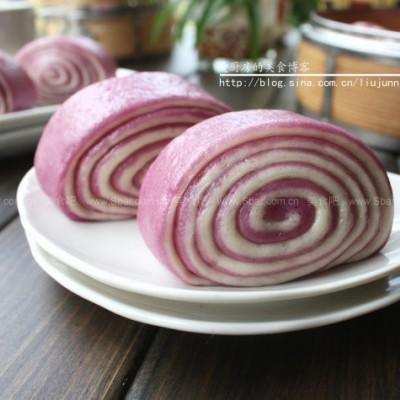 双色紫薯馒头卷