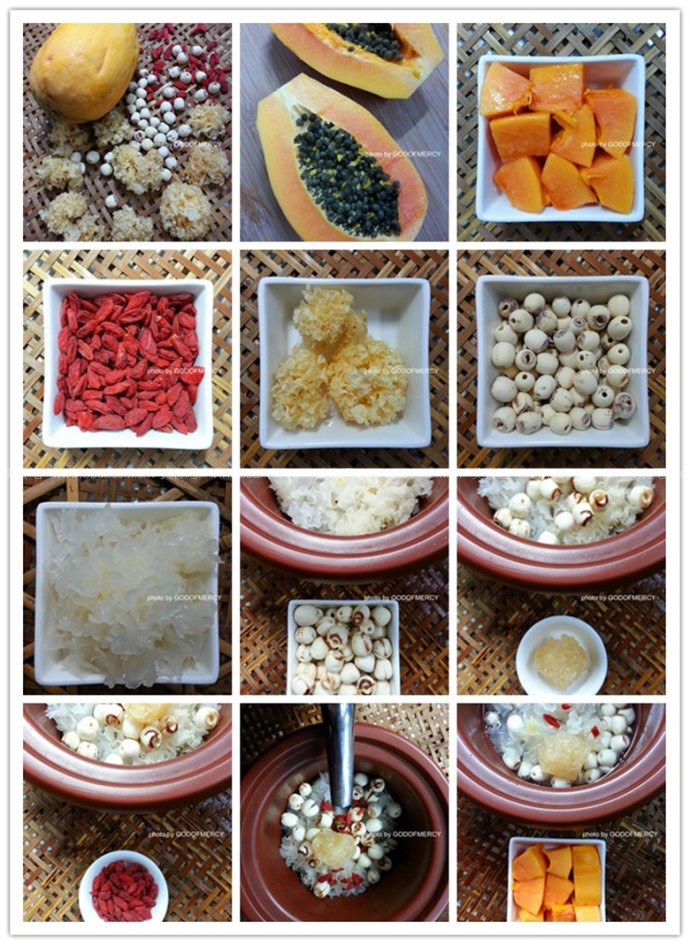 木瓜枸杞银耳莲子羹