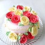 玫瑰奶油霜裱花蛋糕(意式奶油霜)