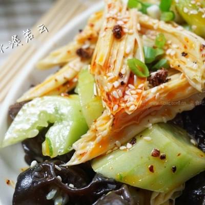 椒油黄瓜拌腐竹