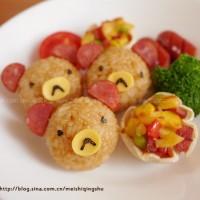 小熊飯團、餃子皮小披薩