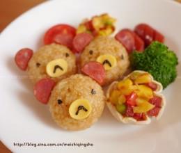 小熊饭团、饺子皮小披萨