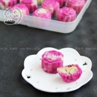 红心火龙果双色蔓越莓绿豆冰皮月饼