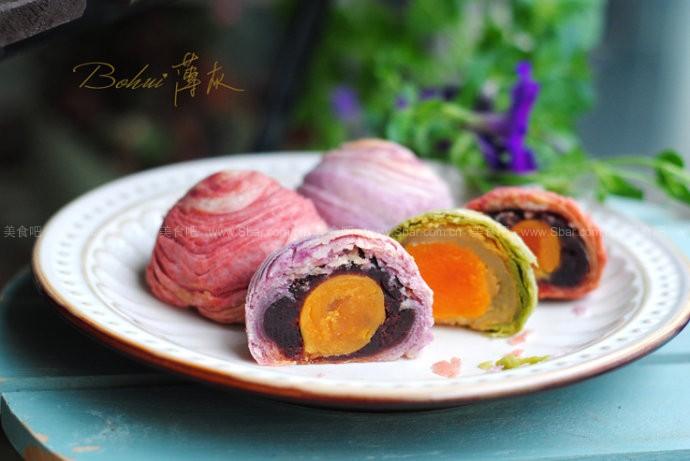 紫薯蛋黄酥、抹茶蛋黄酥