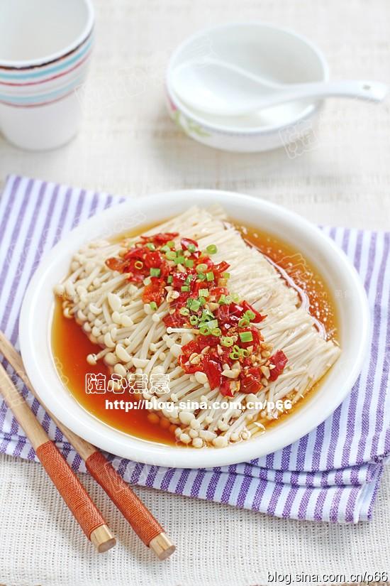剁椒蒸金针菇(清蒸菜)