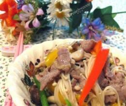 牛肉金针菇菜椒丝