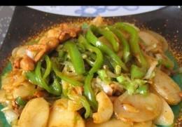 青椒肉丝炒年糕