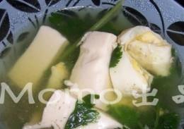 芫茜鸡蛋豆腐汤