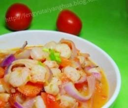 番茄葱头炒虾仁