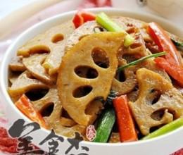 白粥+大蒜炒卤藕