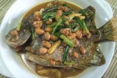 豆瓣酱焖金鼓鱼