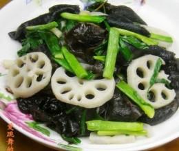 青蒜黑木耳炒藕片