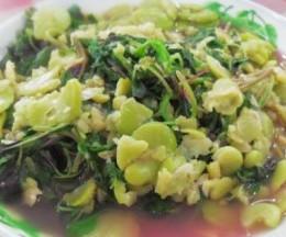 蚕豆瓣烧红苋菜