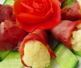 蒜片培根花菜卷
