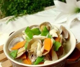 海鲜菇花蛤汤