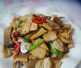 野生鲍鱼菇炒咸肉