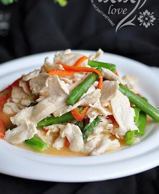 芦笋炒鸡片