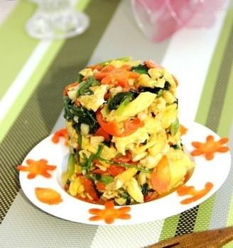 鸡蛋菠菜塔