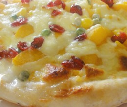 黄桃水果披萨
