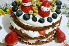 圣诞可可草莓裸蛋糕