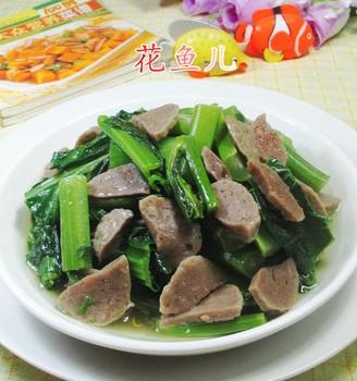 牛肉丸炒天菜芯