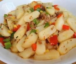肉末荸荠炒双椒