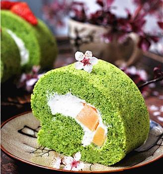 浪漫菠菜奶油卷#樱花味道#