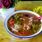 菜花金针菇番茄肉丸子汤