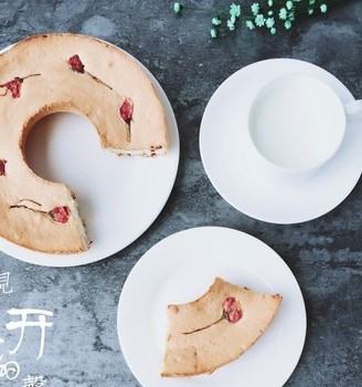 #樱花味道#蔓越莓樱花天使蛋糕