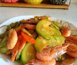 西葫芦炒虾